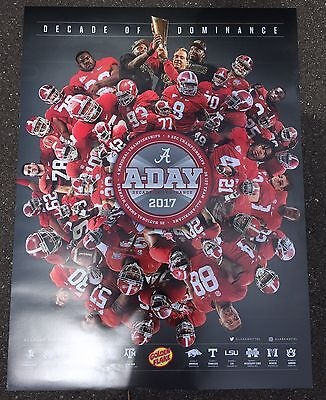 2017 A Day Alabama Crimson Tide Football Schedule Poster Saban   40 Players Oj