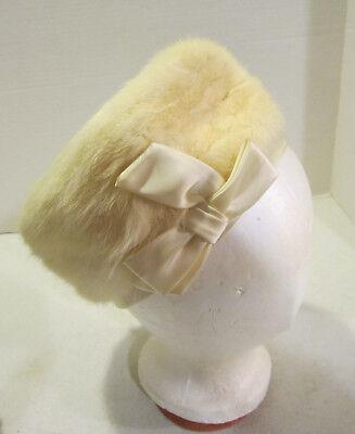 Pastel Yellow Label (Vint pastel yellow angora fur Joy Dorcey New York hat - size 22 - union label EC)