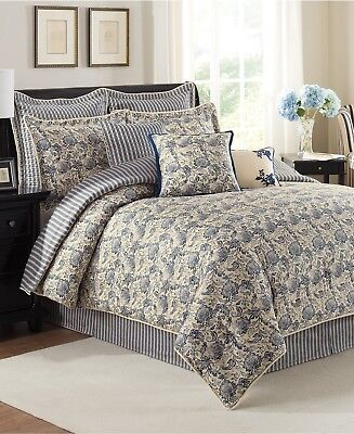 NEW Savannah Bedding Provence Cotton EURO Pillow Counterfeit Indigo Blue / Beige G2864