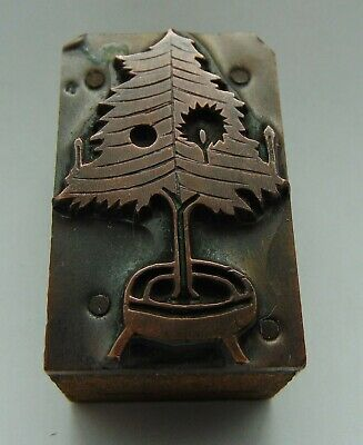 Vintage Printing Letterpress Printers Block Small Tree With Candles