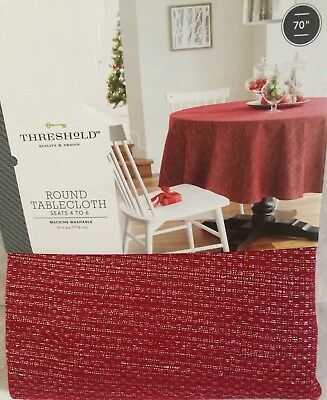 THRESHOLD OBLONG TABLECLOTH RED SILVER SPARKLE ROUND 70