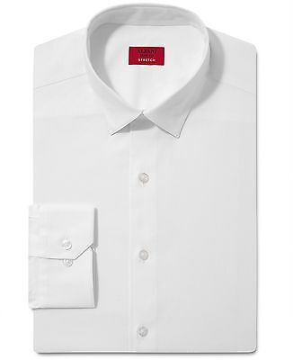 NWT $79 ALFANI Men's SLIM FIT WHITE LONG SLEEVE CASUAL DRESS SHIRT 17-17.5 34/35