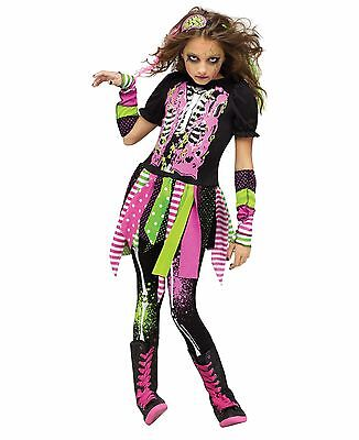 Neon Zombie Walking Dead Skeleton Girl Child Costume
