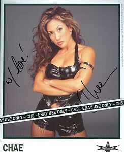 CHAE-SEXY-SIGNED-COLOR-8x10-PHOTO-HOT-ASIAN-WRESTLING-DIVA-WCW