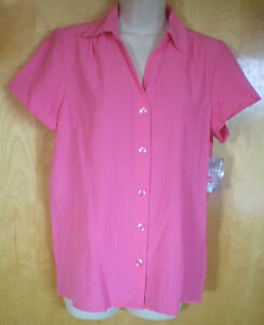 NWT-womens-ladies-size-M-8-10-XL16-18-bright-pink-crinkly-s-s-shirt-blouse-top