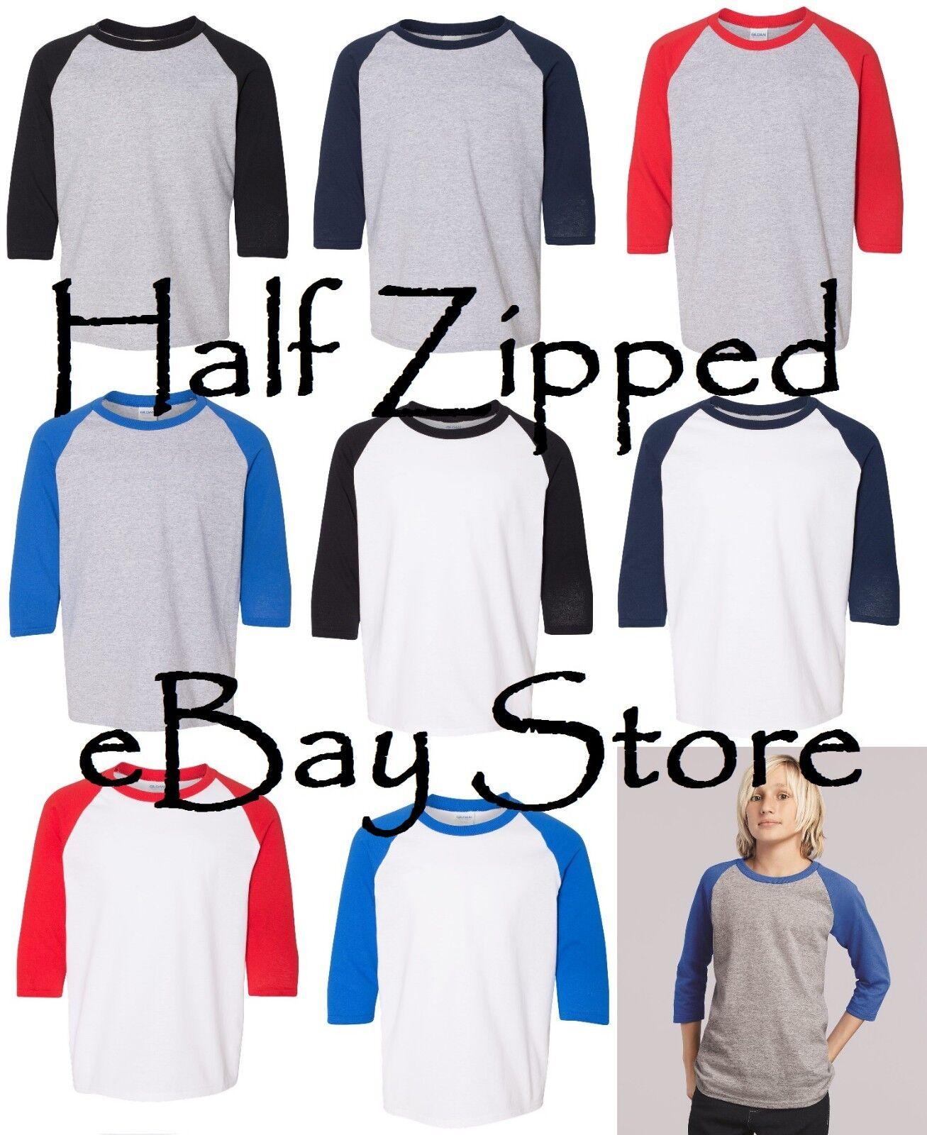Gildan Heavy Cotton YOUTH Raglan Tee Baseball T-Shirt 5700B