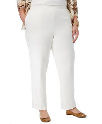 Alfred Dunner Womens Two-Pocket Pull-On Classic Fit Pants 24W Plus Ivory $52