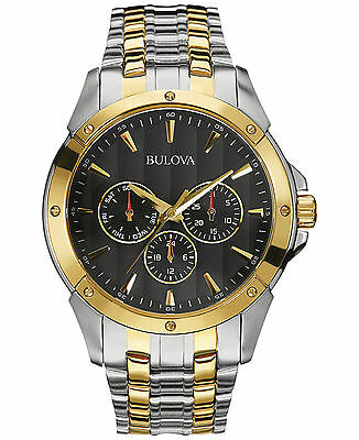 Bulova Classic Men's Quartz Black Dial Two-Tone Bracelet 43mm Watch 98C120