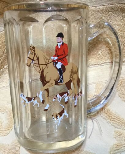 Fox Hunt Hunting  Glass Beer Mug