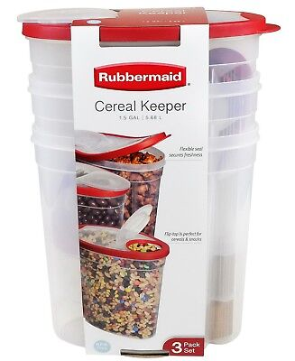 3 Pack 1.5 Gallon Rubbermaid Cereal Keeper Food Storage Plastic Containers Red