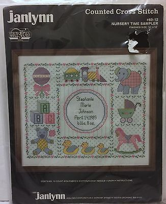 "VTG Janlynn Nursery Time Sampler Counted Cross Stitch ""14x12"" Baby Crib Sewing"