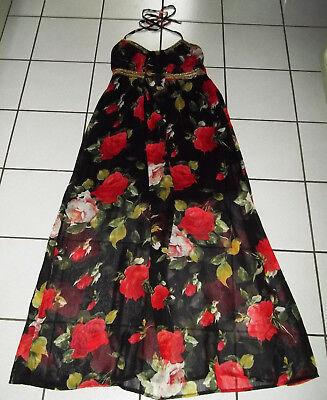 TRAUM Kleid Gr. M 38 40 Abendkleid Maxikleid SCHWARZ Rosen SOMMERKLEID neuw. Rosen-sommer-kleid
