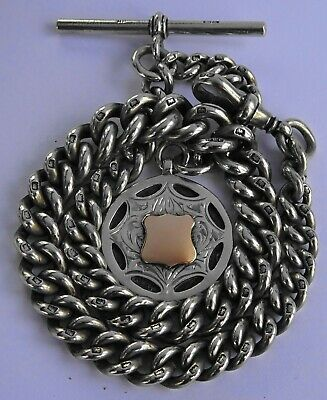 Superb heavy antique solid silver pocket watch albert chain & silver & gold fob