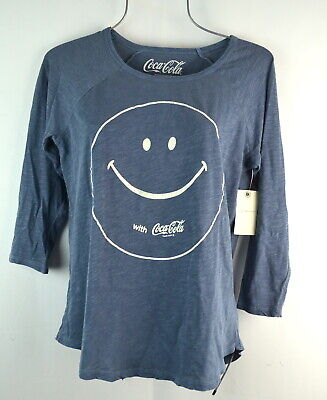 Lucky Brand Women's Blue Coca Cola Smile Tee T-shirt Top Small NWT