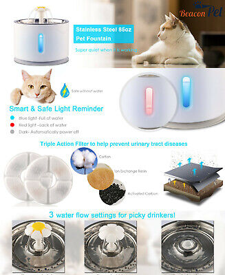 STAINLESS STEEL AUTO CAT DOG WATER DRINKING FOUNTAIN PET BOWL DRINK DISH FILTER Auto Pet Water