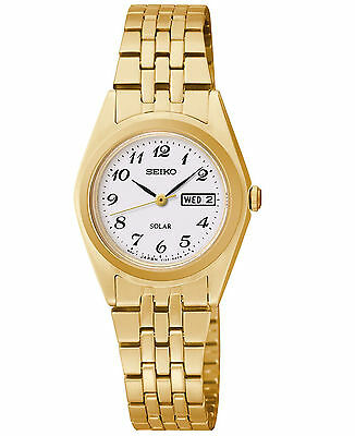 Seiko Solar Women's SUT118 Dress Stainless Steel Gold-Tone White Dial Date Watch