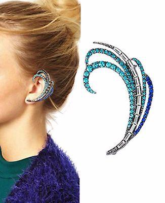 Blue Crystal Ear Cuff (Rhinestone Crystal Blue Ear Cuff Stud Sweep Wrap Vintage Clip  Silver Tone)