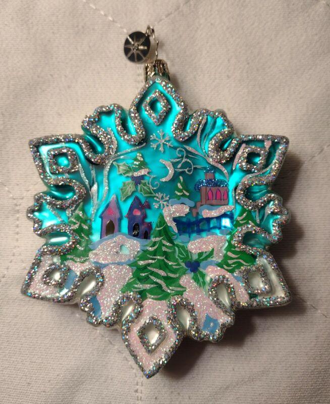 Very Rare & Vintage 2004 Christopher Radko 2-sided Snowflake Christmas Ornament
