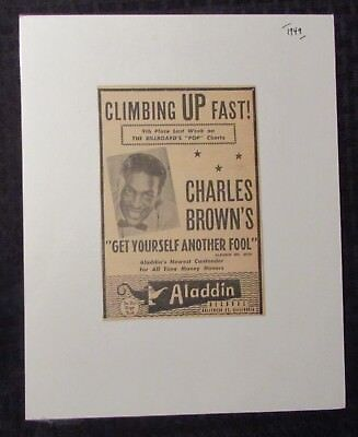 1949 Alladdin Records CHARLES BROWN Get Yourself Another Fool 4x6 Print Ad