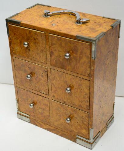 Japanese Birdseye Maple Veneer Enamel Wood Chest Box Trinket Sewing Jewelry Vtg