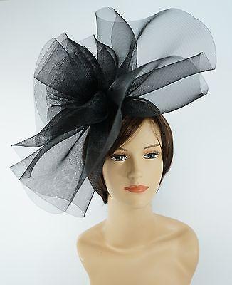 New Church Derby Wedding Fascinator Dress Hat with Headband FS-02 Black