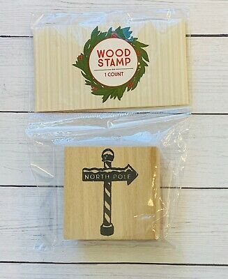 North Pole Sign  Holiday Christmas Wooden Rubber Stamp Cards Gift Tags  Christmas Wooden Stamp