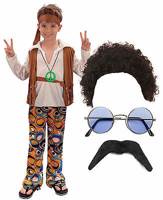 Hippy Hippie Boy Kids 60s 70s Fancy Dress Costume Outfit Afro Wig Tash - Boy Hippie Costume