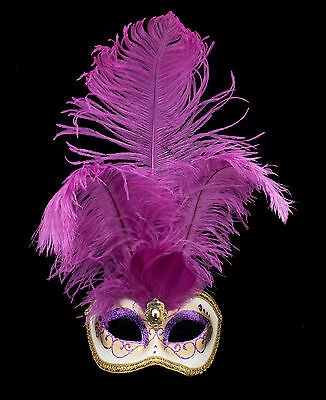 Mask from Venice Colombine in Feathers Ostrich Violet-Mask Venetian - 1341 V78