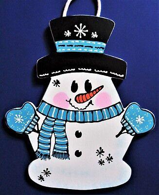 - SNOWMAN WINTER SIGN Wall Art Door Hanger Plaque Seasonal Mesh Wreath Accent