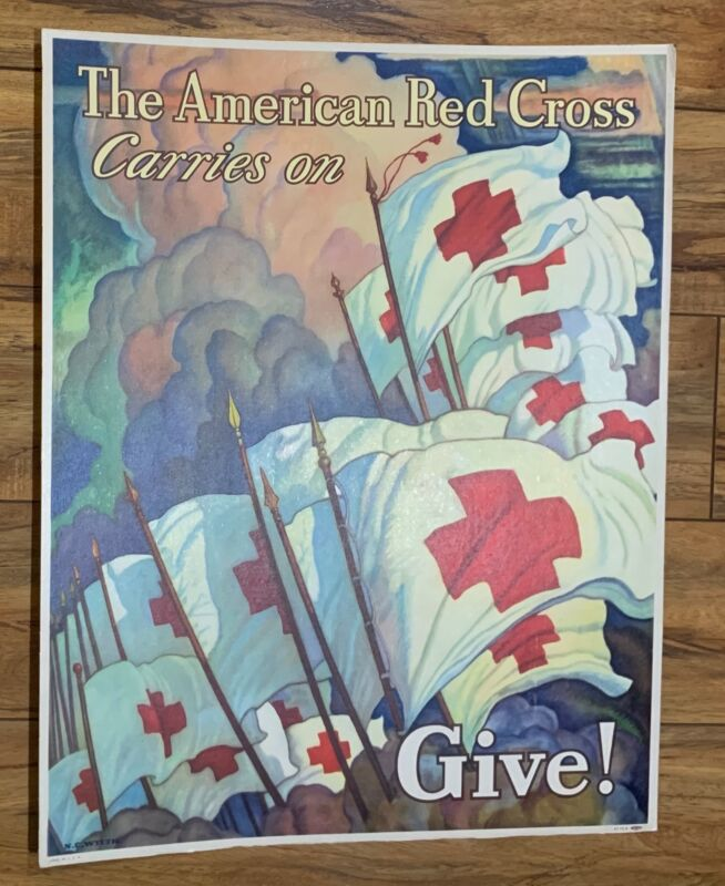 RARE WWII THE AMERICAN RED CROSS CARRIES ON GIVE! SIGN NC WYETH ART NOT POSTER