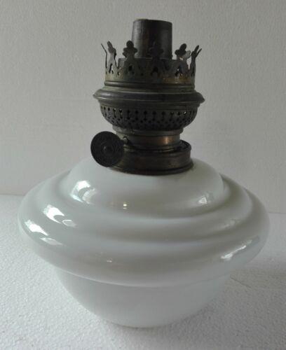 Vintage White Opaline Glass Kerosene Reservoir w/ Kosmos Brenner Burner