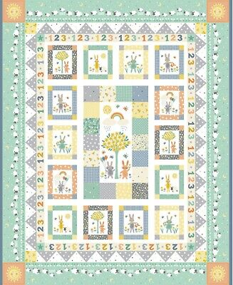 Counting Sheep Nursery Squares Wall Quilt Panel Fabric 100% Cotton Makower -