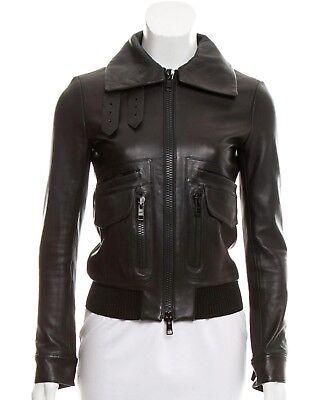 - HELMUT LANG Wool-Trimmed Leather Biker Jacket.  Size XS $1495