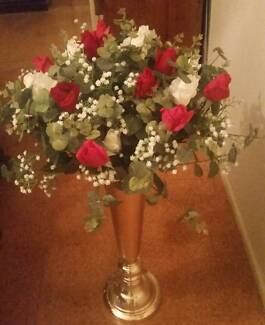 For Hire: Red and White Flower Arrangements