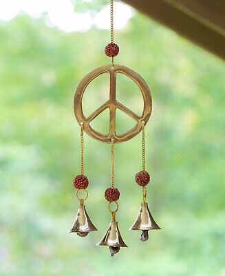 - Golden WIND CHIME Peace Sign -11