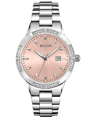 Bulova Women's Quartz Diamond Accents Pink Dial Silver-Tone 32mm Watch 96R175