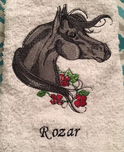 Personalized Arabian Horse machine embroideryHand Towel your horse's name on it!