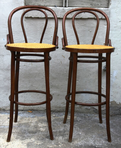 Thonet Style Hand Caned Vintage Bentwood Bar Stool Set 2