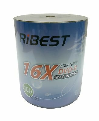 200 Ribest (RITEK) Blank DVD-R DVDR Logo Branded 16X 4.7GB Media Disc