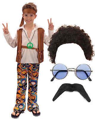 Hippy Hippie Boy Kinder Jungen Karneval Kostüm Anzieh 60er 70er Jahre 4-12 ()