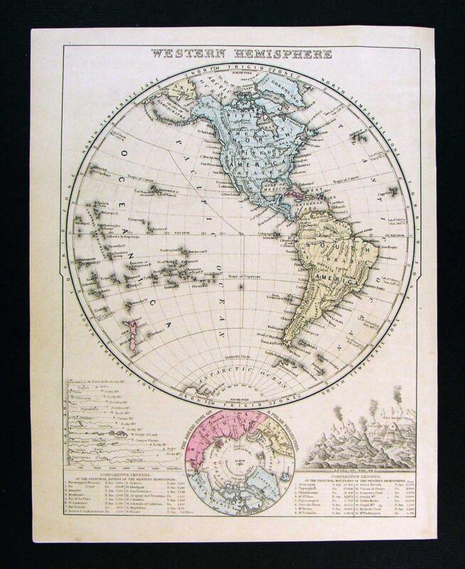 1872 Mitchell Map - Western Hemisphere - North South America Hawaii North Pole