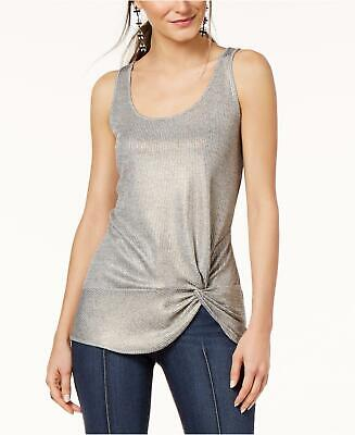 - INC (JN9235-59) Ribbed Metallic Twist-Hem Jersey Top Sz XL $40