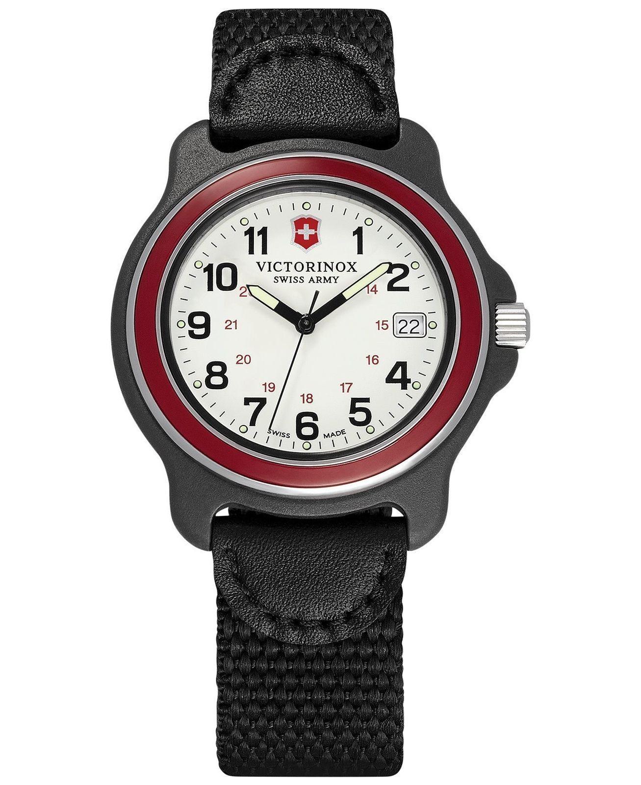 New victorinox swiss army watch original black msrp $ nylon strap men's.