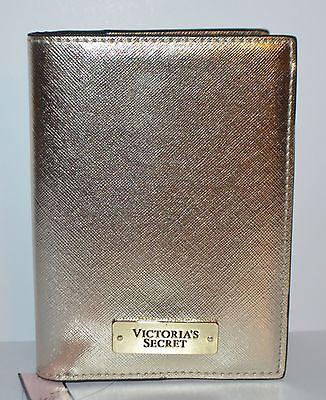 Victorias Secret Gold Metallic Passport Cover Case Travel Wallet Credit Card