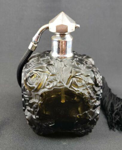 Bohemian Czech Art Deco Smoke Glass Perfume Atomizer by Schlevogt