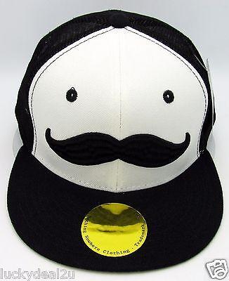 MOUSTACHE Snapback Cap Hat Mustache Mesh Trucker Hat Flat Bill Black White NWT](Trucker Mustache)