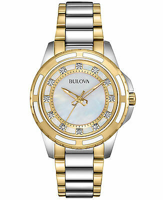 Bulova Women's 98P140 Quartz Diamond Accent Two-Tone Bracelet 36mm Watch