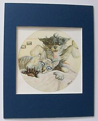 Cat Dog Print Zoe Stokes Alarm Clock W Legs Colored Bookplate 1982 8x10 Blue Mat