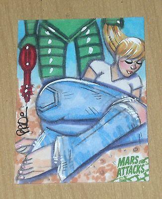 2015 Topps Mars Attacks Occupation Kickstarter GREEN sketch card 1/1 Scott Blair