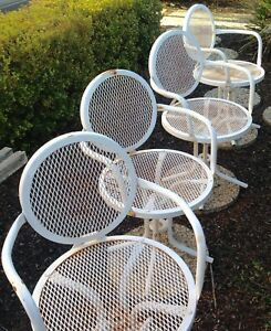 Vintage Set 4 Mid Century Modern Patio Chairs Outdoor Metal Mesh Furniture
